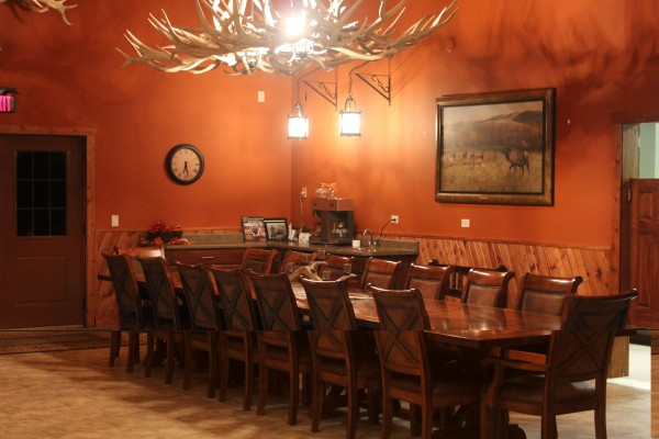 The dinning area at Timber Lake Elk Ranch